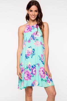 Sleeveless Floral Print Shift Dress   Her Closet Boston
