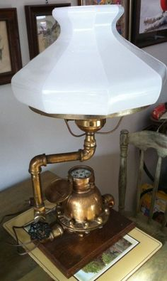 Nice Industrial Art Lamp Brass Water Pressure Gauge Valve and Fittings Water Pressure Gauge, Lava, Usb Lamp, Glass Insulators, Steampunk Lamp, Room Lamp, Unique Lamps, Light Project, Brass