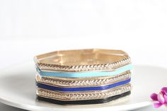 Europe and America Exaggerated Style Fashion Metal Geometric Shape Individual Multi Level Charming Blue Bracelets for Girls