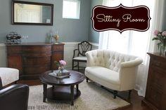 Like mixing the chairs idea, love the loveseat. Chairs on the left and loveseat are from pier 1. I have the same love seat, though it is beautiful, I have to say it is totally uncomfortable, such a disappointment, the padding is so thin you feel all the wood :( . At least, it looks good. Getting the same chairs from the left, expect will get the teal leather!