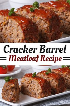 Cracker Barrel's Meatloaf Recipe is classic comfort food made with ground beef, onions, bell pepper, cheddar cheese, Ritz crackers and a sweet, savory glaze on top! Cracker Barrel Meatloaf, Cracker Barrel Recipes, Good Meatloaf Recipe, Best Meatloaf, Easy Meatloaf Recipe With Ritz Crackers, Taste Of Home Meatloaf Recipe, Meat Recipes, Dinner Recipes, Cooking Recipes
