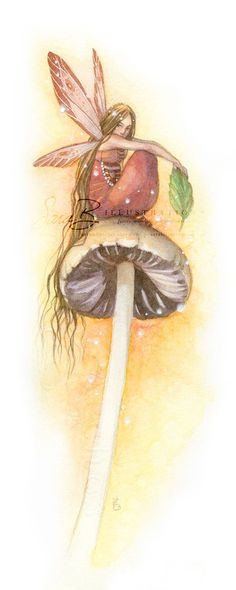 Fairy in Rustic Red Art Print on Mushroom with a by sarambutcher, $10.00
