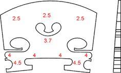 Bridge curve templates for various stringed instruments