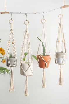 Macrame plant hangers Short wall planter indoor outdoor Small suspended pot holder Rope crochet hanging planter Simple minimalist boho decor - Thanks so much for visiting our store, we make macrame plant hangers in various colors, sizes, styl - Crochet Plant Hanger, Plant Hangers, Macrame Plant Hanger Diy, Rope Plant Hanger, Macrame Plant Hanger Patterns, Dulux Valentine, Boho Dekor, Macrame Projects, Macrame Supplies