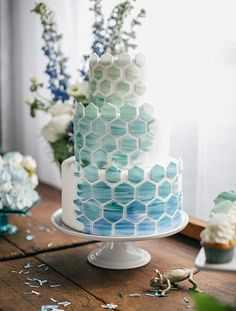Geometric blue hombre cake! Photo by Emily Wren Photography.