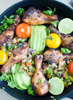 Salsa Avocado Roast Chicken Skillet - super straightforward and simple, just toss the chicken in some jazzed-up salsa and bake.