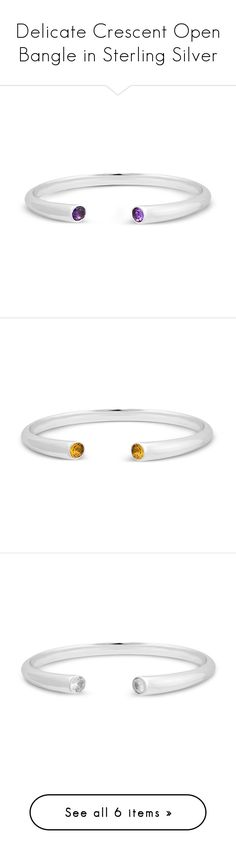 """""""Delicate Crescent Open Bangle in Sterling Silver"""" by blossom-jewels ❤ liked on Polyvore featuring jewelry, bracelets, sterling silver hinged bracelet, bracelets bangle, zircon jewelry, sterling silver bangles, sterling silver bangle bracelet, hinged bracelet, sterling silver bracelet bangle and white zircon jewelry"""