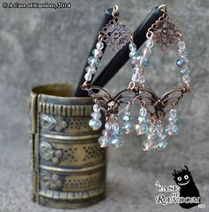 iridescent & copper butterfly hair sticks by acaseofrandom on Etsy, $20.00