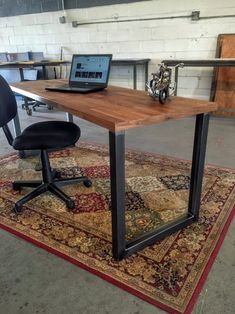 Diy Desk Discover Metal Table Legs - U Style - Adjustable Leveling Feet - Set of Two Wood Table Legs, Desk Legs, Wood Desk, Home Office Setup, Home Office Design, Table Desk Office, Industrial Desk, Rustic Industrial, Metal Furniture