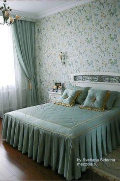 Голубая спальня - спокойствие, красота и умиротворенность. Пошив штор, покрывала и декоративных подушек.