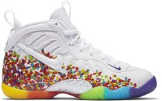 Buy and sell authentic Nike Air Foamposite One White Fruity Pebbles 2017 (GS) shoes and thousands of other Nike sneakers with price data and release dates. Fruity Pebble Jordans, Fruity Pebbles Shoes, Neon Shoes, Hype Shoes, Girls Sneakers, Sneakers Fashion, Sneakers Nike, Custom Painted Shoes, Custom Shoes