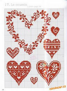 cross stitched heart templates