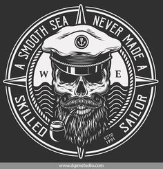 Monochrome sailor themed vector design of a captain with a pipe. Editable text and handy file format Sailor Illustration, Sea Captain, Captain Hat, Sailor Tattoos, Interior Design Elements, Oldschool, Badge Logo, Emblem, Skull Design