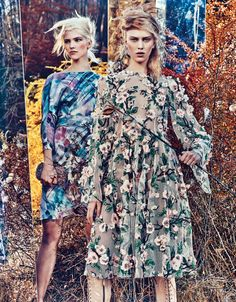 Sasha Luss in Giorgio Armani and Juliana Schurig in Dolce & Gabbana photographed by Craig McDean for W magazine, February 2014.
