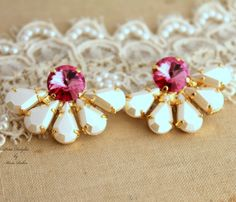 Pink white pearl  Rhinestone Crystal stud earring by iloniti, $43.00 #Pink, #white_pearl #Rhinestone_Crystal_stud, #earring, # bridesmaids,  #gifts, #bridal_earrings
