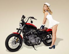 Motorcycle Girl Photo: 1940s U.S. Military Theme Postcard Photos of Supermodel Marisa Miller and a Harley-Davidson Motorcycle - Sexy Nurse Look