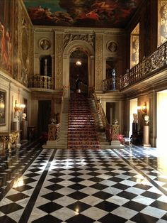 Alternating black and white tiles mught change the presence of your Tiny Castle. Get them from Craig's List or Freecycle? Pinner: Chatsworth House entrance hall