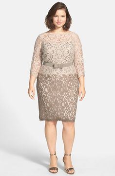 Tadashi Shoji Belted Lace Dress (Plus Size) available at #Nordstrom