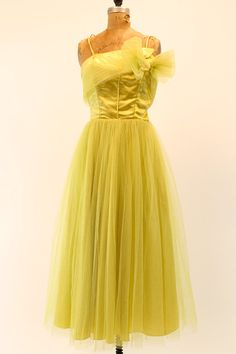 Chartreuse Confection \\ 1950s Dress Emma Domb XSS /   by CrushVintage, $225.00