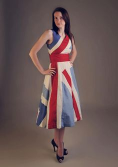 Red, white & blue 100% cotton Olympic, Wedding, Races Union Jack 50's party dress for ALL SIZES. Limited Edition. Christmas. £99.99, via Etsy.