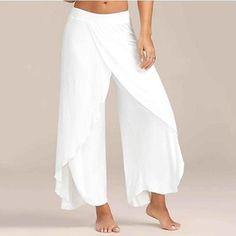 High Slit Flowy Layered Palazzo Pants – White S Mobile - Hosen Wide Leg Yoga Pants, Stretch Pants, Wrap Pants, Diy Kleidung, Pantalon Large, Loose Pants, Split Pants, Flowy Pants, Loose Fit