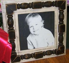 Large Solid Wood Distressed Picture Frame by yesdog73 on Etsy, $160.00