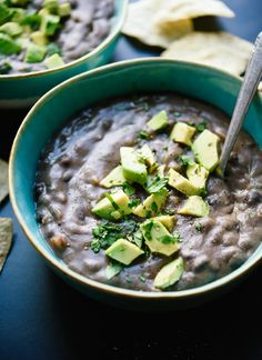 Amazing vegetarian black bean soup, ready in 45 minutes! This soup makes great leftovers, too. cookieandkate.com