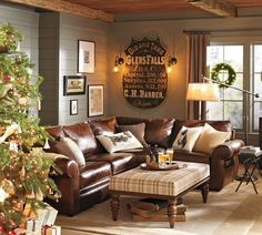 For The Cabin Living Room... So Cozy By The Fireplace! Pottery Barn Leather  SofaLeather ... Part 77