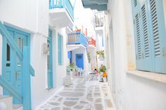 Mykonos / Greece - I so badly want to be here. Not just in Mykonos, but right. Mykonos Island Greece, Greece Islands, Dream Vacations, Vacation Spots, Santorini, Wonderful Places, Beautiful Places, Beautiful Streets, Places To Travel