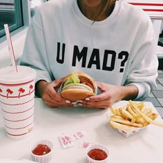 white sweater cool tumblr outfit food made by order black tumblr sweatshirt swag vintage style u mad? shirt pullover hoodie