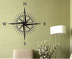 Compass Rose Wall Decal - Map Navigator Office Library - Vinyl Sticker Art Large Decoration Sign Graphic Decor Mural