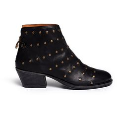 Fiorentini+Baker 'Gemma' stud leather ankle boots ($515) ❤ liked on Polyvore featuring shoes, boots, ankle booties, black, black studded booties, studded ankle boots, black ankle bootie, vintage booties and short black boots