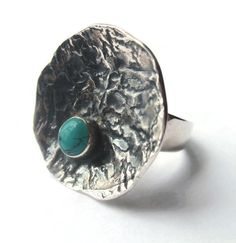 Vintage modernist turquoise paste and sterling silver disc ring, asymmetrical space age design, adjustable statement ring, https://www.etsy.com/listing/240925385/vintage-modernist-turquoise-paste-and
