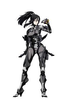 Female operator in mech suit Female Character Design, Character Concept, Character Art, Concept Art, Art Cyberpunk, Arte Ninja, Fan Art Anime, Anime Military, Estilo Anime
