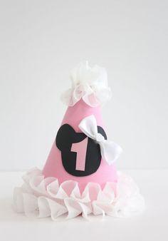 CUSTOMIZABLE Minnie Mickey Mouse Pink Mini Birthday Party Hat w/ White Ruffles Black Silhouette Pink Number and White Bow