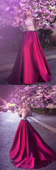 Romantic A-Line Jewel Rose Red Satin Round Neck Prom Dresses with Lace Appliques PH458,#aline#rosered#satin#elegant#unique#vintage#promdress#longeveningdress