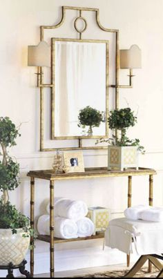 Port 68 Doheny Mirror With Sconces - Gracious Interiors - Traditional Style - Bathrooms Hall Mirrors, British Colonial Decor, Living Room Bench, Vanity Decor, Sofa Tables, Best Interior Design, Interiores Design, Decoration, Home And Living