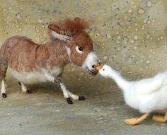 Needle felted donkey and goose