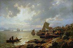 "Hans Fredrik Gude - ""Evening Homecoming of the Fishermen"""