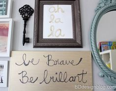Use your own handwriting to create piece of artwork. Every piece is unique and special to YOU! Great idea for kids to do this too. www.bddesignblog.com #glitterart