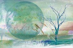 Beach Art Blue Moon - GrayWolfGallery on Etsy