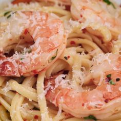 Baked Shrimp Linguine Scampi (WITHOUT THE WINE) ~ food recipe recipes foodie cook cooking yummie salads pasta Tasty Dishes at home fish seafood dishes meat soup cake dessert sweet pudding Fish Recipes, Seafood Recipes, Cooking Recipes, Healthy Recipes, Baked Shrimp Recipes, Seafood Meals, Seafood Pasta, Cooking Tips, Cooking Food