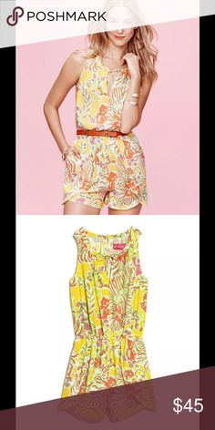 Lilly Pulitzer Challis Romper Happy Place You can't help but feel cheerful in the Lilly Pulitzer for Target Women's Challis Romper in Happy Place. The romper trend isn't going away any time soon, and the sunny yellow floral pattern is sure to bring a smile to the faces of everyone you meet. This V-neck romper has front pockets, a fabric tie with gold hardware and elastic waist.   Weave Type: Challis   Sizing: Small   Closure Style: Behind the neck button   Garment Length: Above knee   Good…
