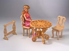 Beautiful handmade furniture can be built for any size doll In the Summer 2011 issue of Scroll Saw Woodworking & Crafts (SSW43), Kirk Ratajesak offers patterns for fretwork wooden doll furniture. Rolf Beuttenmuller cut the chair and quilt rack from cherry and the table from oak. Every little girl loves …