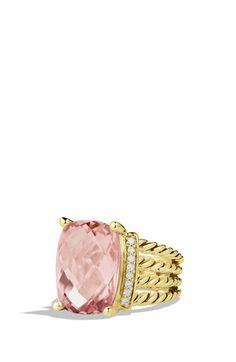 David Yurman 'Wheaton' Ring with Morganite and Diamonds in Gold (=)