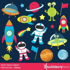 Clipart, Digital Paper, Digital Stamps, Commercial Use by HuckleberryHearts Rocket Ship Craft, Rocket Ships, Heart Font, Mothers Day Crafts For Kids, Alien Art, Space Theme, Space Party, Space And Astronomy, Scrapbooking