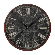 """Oversized 24"""" Map Of The World Printed Wall Clock"""