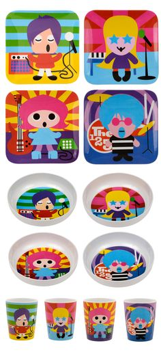 French Bull ROCK STAR COLLECTION: melamine, kids plates, kids bowls, kids juice cups, BPA-free, kid friendly tableware, safe indoors and outdoors, scratch and shatter resistance, dishwasher safe, singer, drummer, bass player, guitar