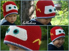 Free Pattern. Crochet Lightning McQueen hat