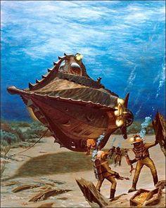 "Nautilus Leagues Under the Sea"" (Art Work) Adventure Movies, Sea Monsters, Steampunk, Science Fiction Art, Jules Verne, Nautilus Submarine, Creatures, Cool Pictures, Art"